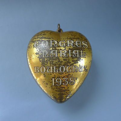 Antique Sacred Heart of Mary 1938 Ex Voto Reliquary Pendant