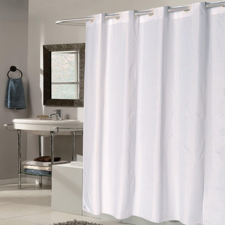 Amazon Com Ez On White Check Fabric 70 X75 Hookless Shower