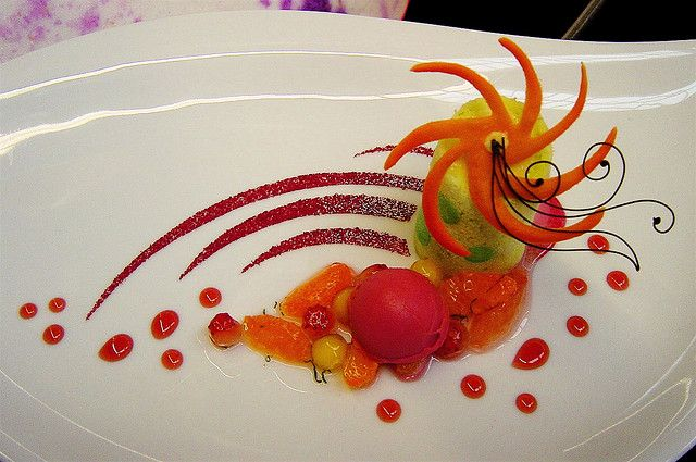 ** sorbet and fruit plate