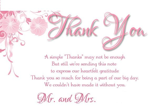 Wedding Thank You Card Examples For Family