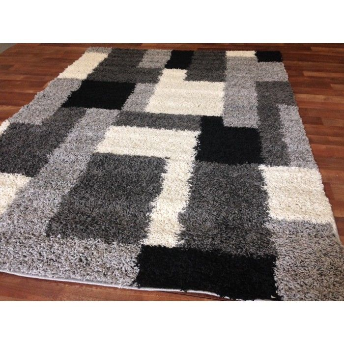 discount overstock wholesale area rugs discount rug depot gray modern blocks shaggy area. Black Bedroom Furniture Sets. Home Design Ideas