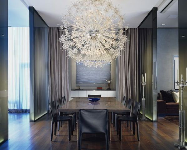 Large Starburst Chandelier Taken From A Ballroom And Put Into Modern Dining E Beautiful Design