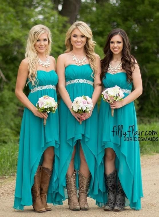 53d418e813 2019 High Low Country Bridesmaid Dresses Cheap Under 80 Sweetheart ...