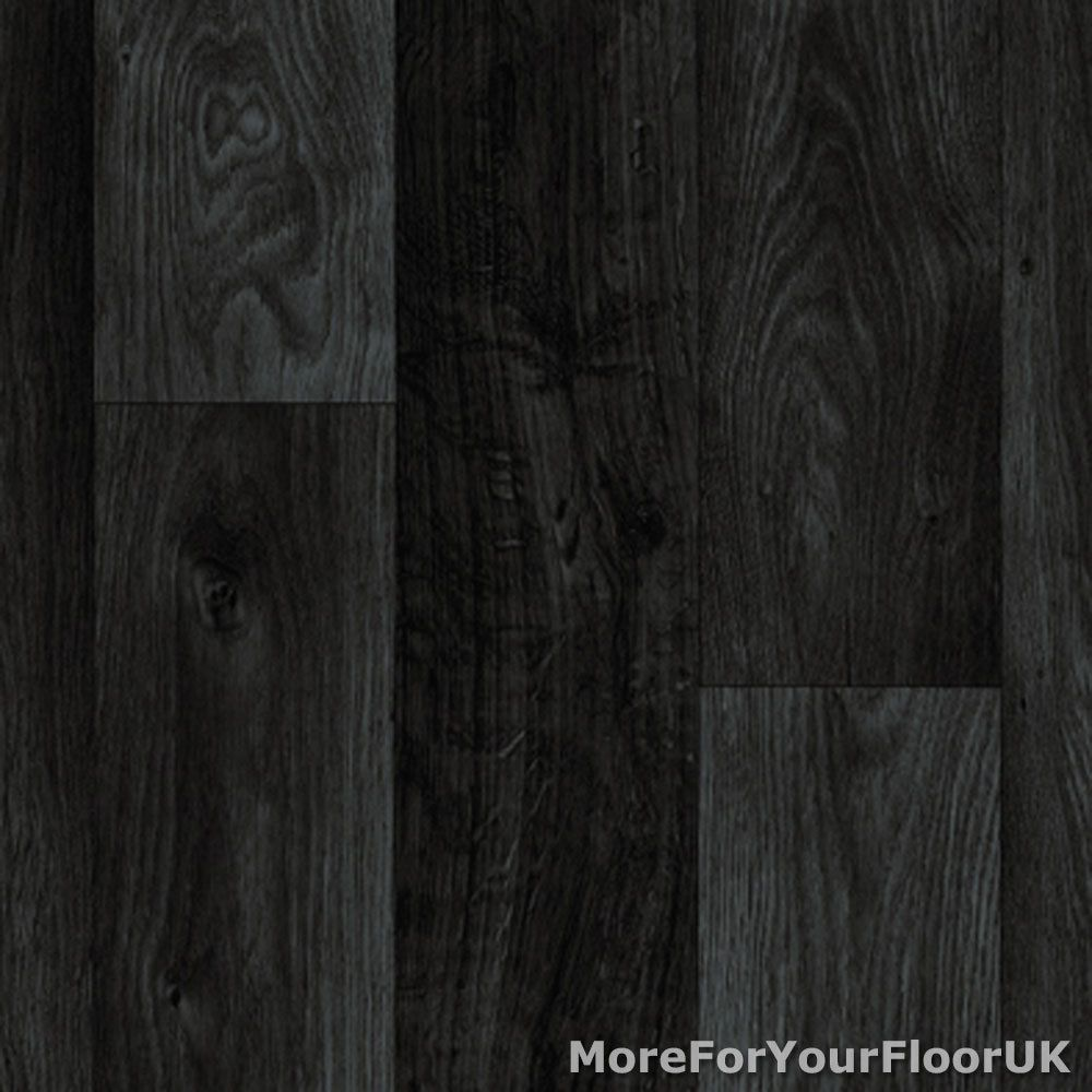 Black Dark Grey Wood Plank Vinyl Flooring Slip Resistant Lino 4m Cushion Floor