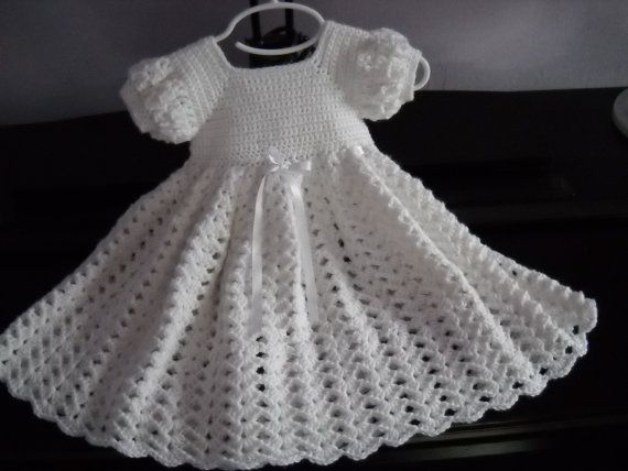 Crochet White Baby Dress, Infant Baptism Blessing Christening Dress ...