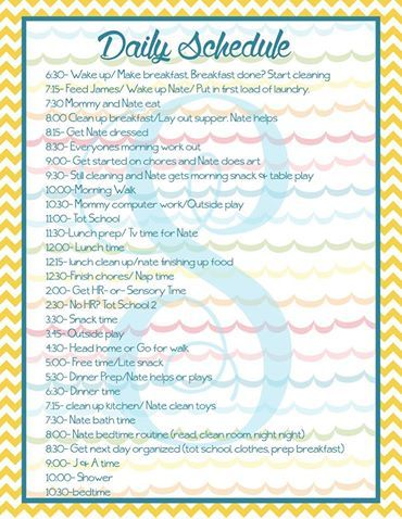 Example Toddler And Stay At Home Mommy Schedule As Detailed As
