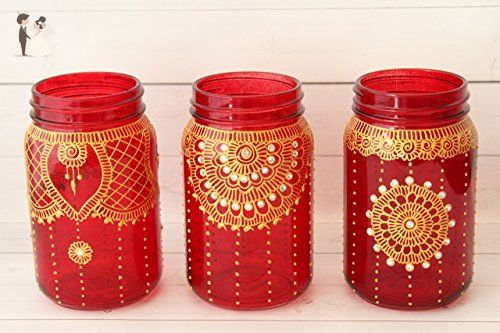 Red and gold moroccan mason jar wedding centerpieces set of 3 red and gold moroccan mason jar wedding centerpieces set of 3 venue and reception junglespirit Gallery