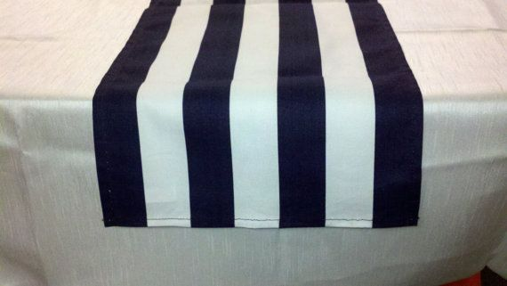 Choose Size Runners Navy And White Striped Table Runner