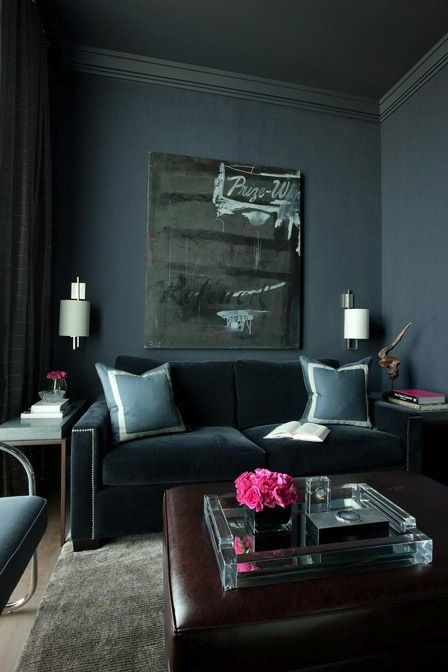 Cant Beat A Dark Grey Velvet Sofa Backed By An Equally Wall Makes Any Color In The Room Absolutely Pop