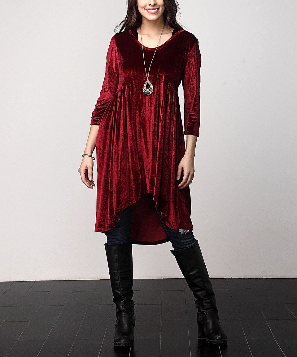 Another great find on #zulily! Red Velvet Hi-Low Hooded Tunic - Plus by Reborn Collection #zulilyfinds