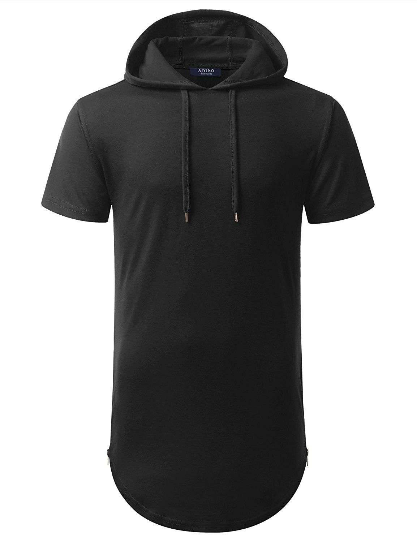 AIYINO Mens Hipster Hip Hop Short Sleeve T-Shirt with Zipper Trim