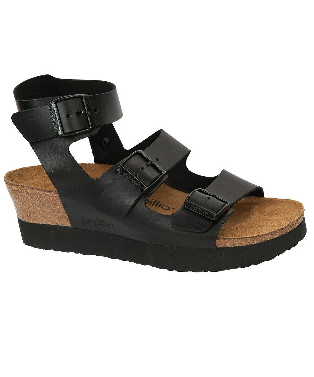 cf400daa7 Papillio by Birkenstock Gladiator Linnea Platform Wedge Sandal. Fully  Adjustable Black Leather Straps. Cork Footbed. 100% Fabulous!