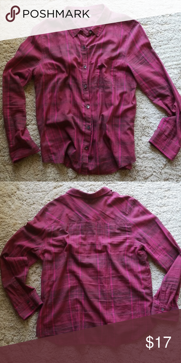 6643e97c5ed5cc NORDSTROM / HALOGEN PLAID LONG SLEEVE Ladies button down maroon flannel  with pink and dark green