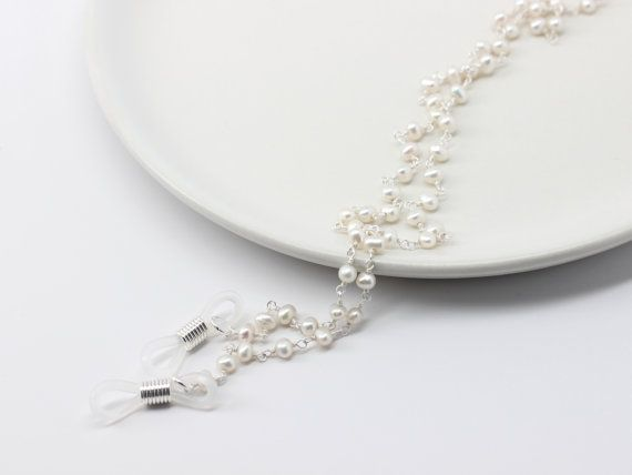 dc5c186e6f48 Pearl Eyeglass Chain with Sterling Silver. Luxury Glasses Chain. White Pearl  Eye Glasses Chain. Eyeglass Holders Necklaces.