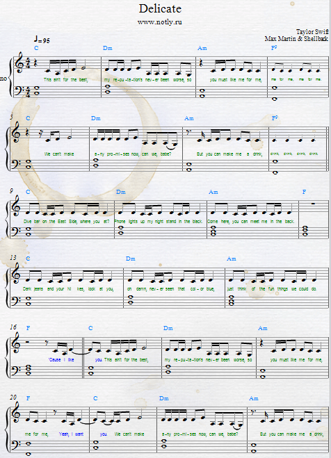 Taylor Swift Delicate Piano Sheets From Reputation Songbook