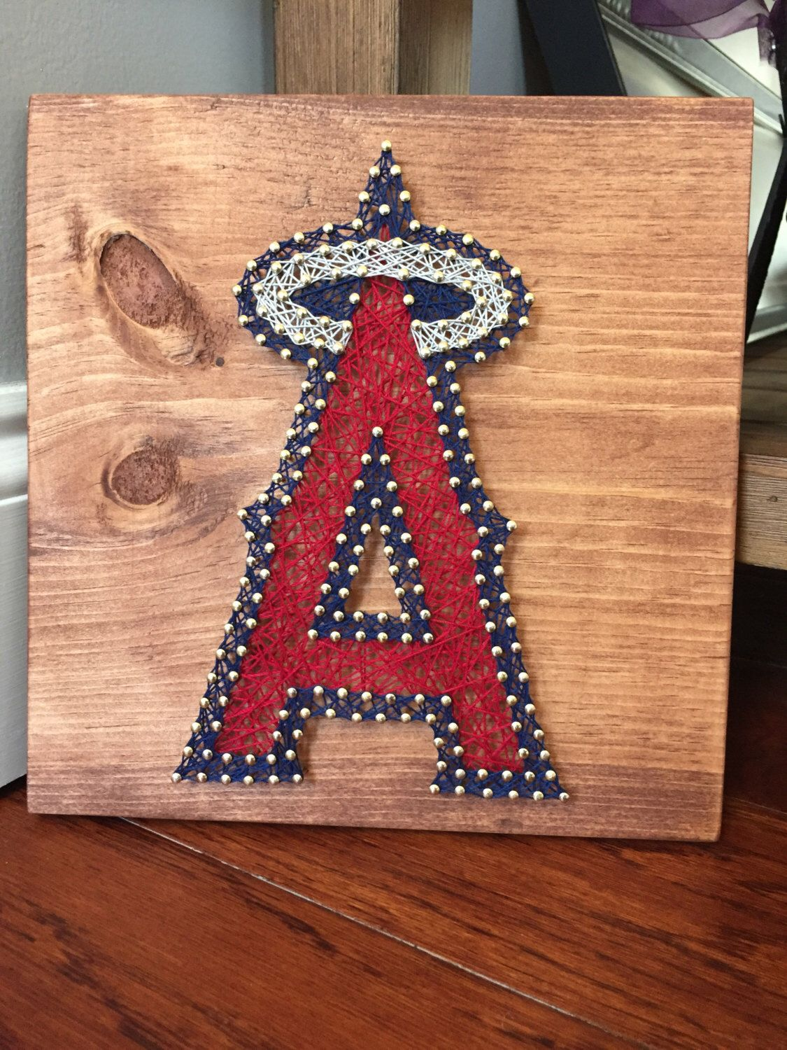 Anaheim Angels String Art Gift MLB Logos Baseball TeamBaseball Bathroom DecorAngel