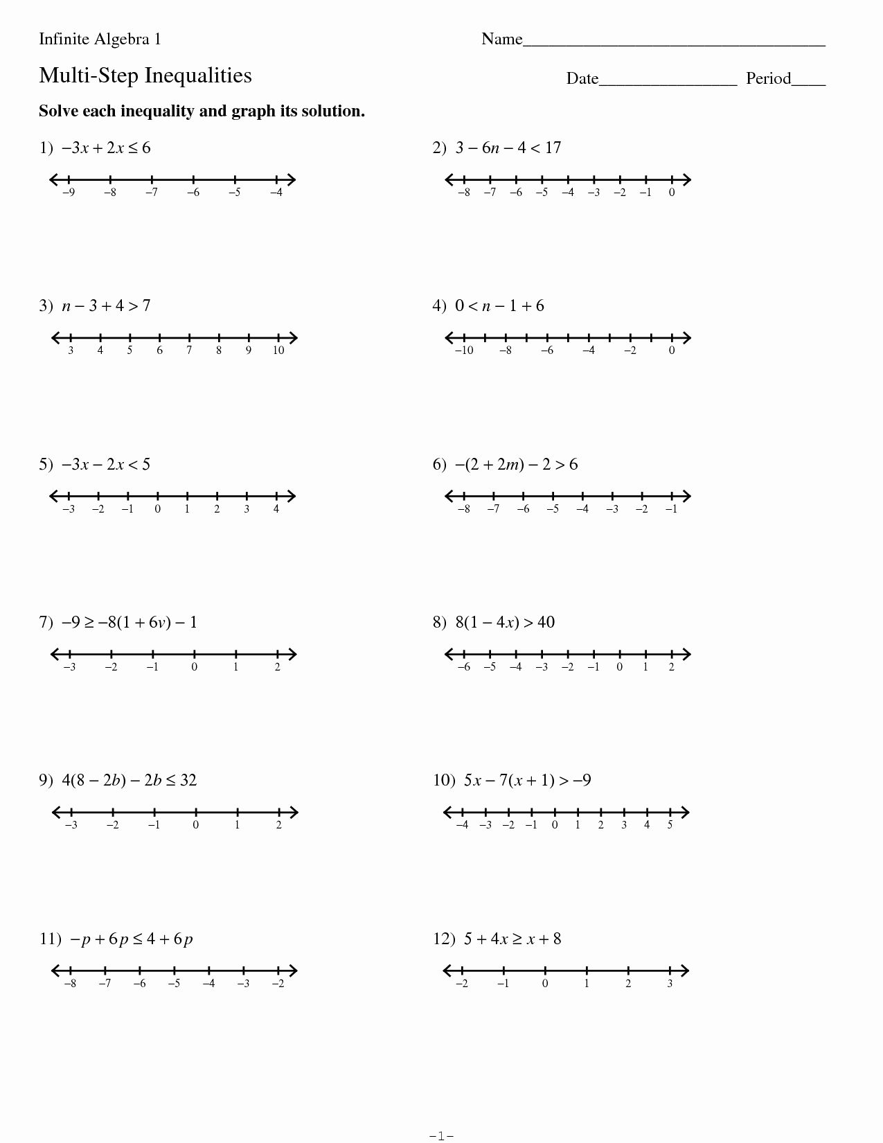 50 Solving Two Step Inequalities Worksheet In