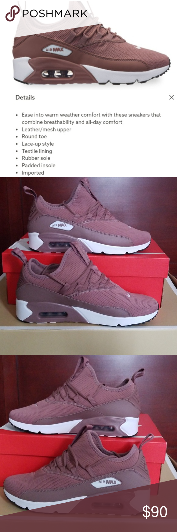 newest collection f7ad3 3a8c8 NIB! NIKE AIR MAX 90 EZ Colors  Smokey Mauve and White with some Black