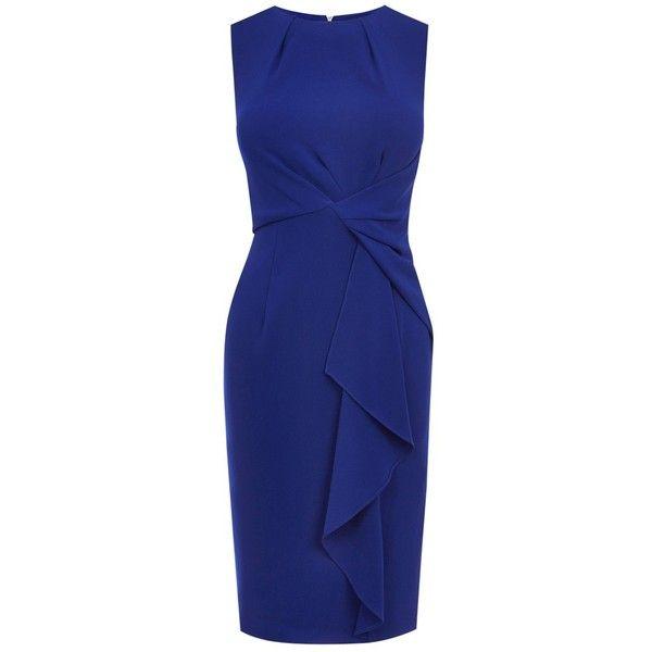 Coast Curve Crepe Dress, Cobalt Blue (€69) ❤ liked on