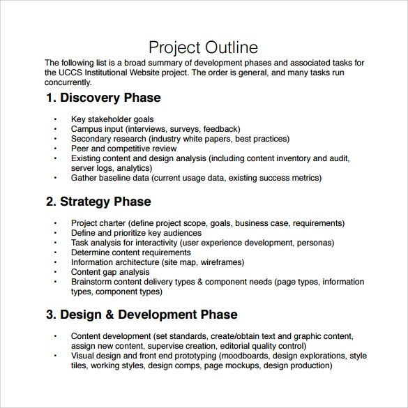Image result for project outline sample Project Outline Ideas