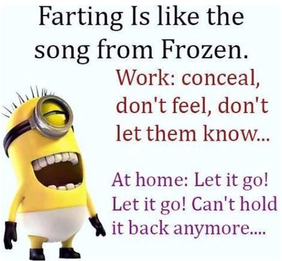 Minion quotes. Farting is like the song from frozen. Work: conceal dont feel dont let them know... At home: let it go let it go cant hold it back anymore....