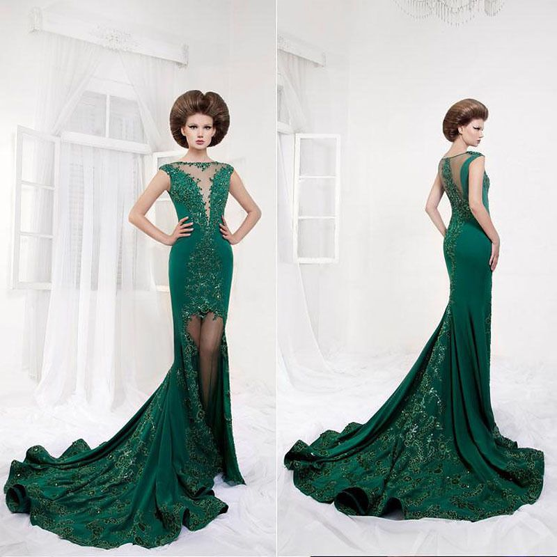 Top Selling 2014 Free Shipping New Hot Sales Mermaid Fashion Floor Length Evening Gowns Dresses with Sweep Train $229.16