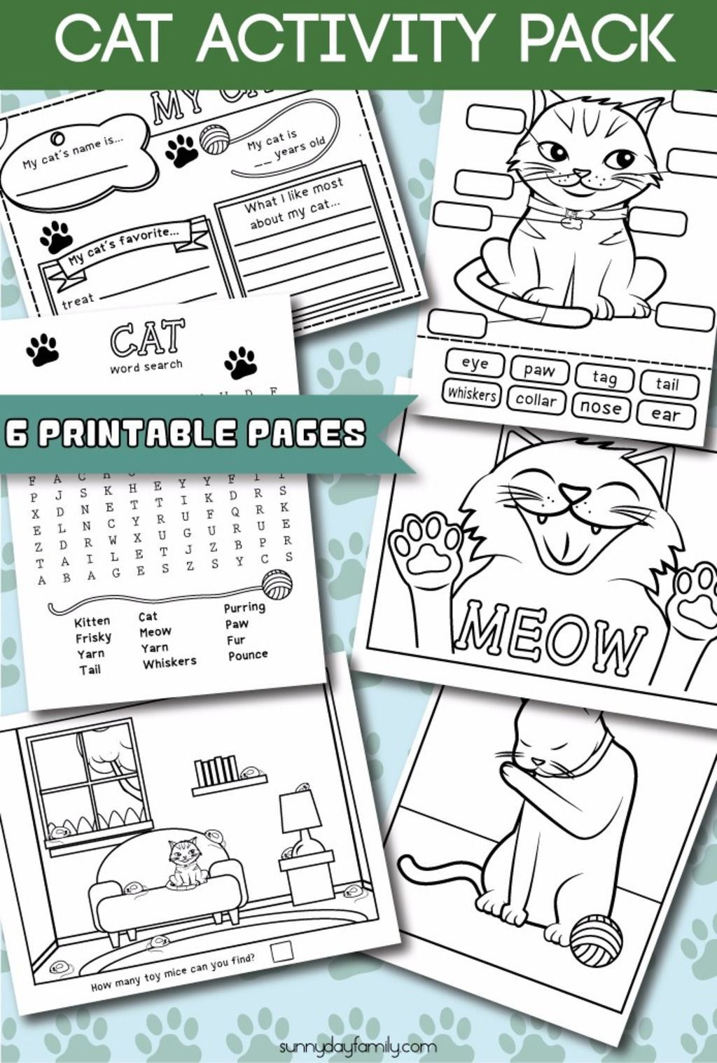 Cat Matching Memory Game for Kids Cat activity, Cat