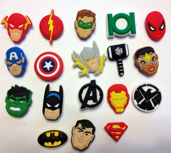 Justice League Avengers Comic Hero Pack 18pc Shoe Charms Cake Toppers Birthday Party Pack, Locker Magnets, Back Pack Zipper Pulls fit Crocs