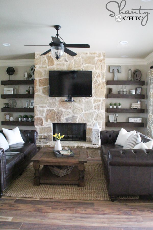 diy floating shelves for my living room yellow and gray accessories home decor pinterest fairmont penthouse stone google search with fireplace