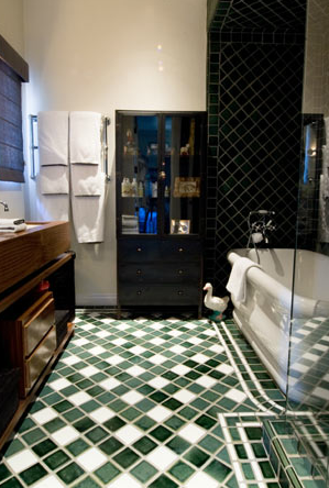 Love The Mixture Of Dark Green And Cream Tiles For The Bathroom
