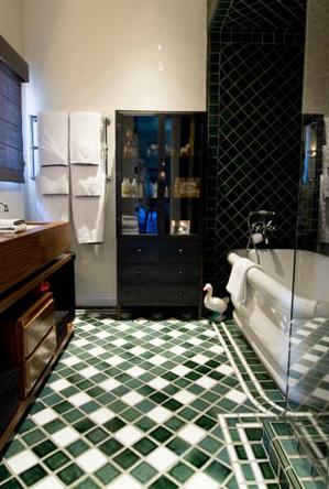 Pin By Estee Stanley Hancock Design On Sierra Ave Beverly Hills Flats Green Bathroom Dark Green Tile Light Green Bathrooms