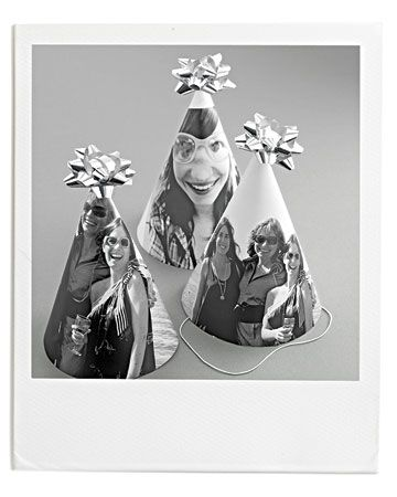 Photo Party Hats::Pick especially silly or endearing photos of the guest of honor -- choose a few -- for these personalized takes on the classic party hat.