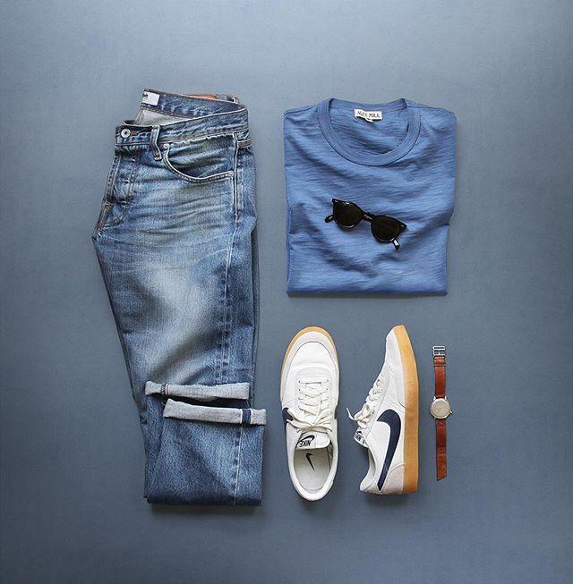Too hot for anything but a tee ☀️#summerheat T-Shirt: @alexmillny Slub Cotton Denim: @baldwim Selvedge Shoes: @nike for @jcrew Killshot 2 (discontinued) Watch: @miansai M12 Glasses: @rayban Original Wayfarer