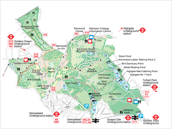 Hampstead Heath Map Walks in Hampstead Heath | London | California, Los Angeles, Santa  Hampstead Heath Map