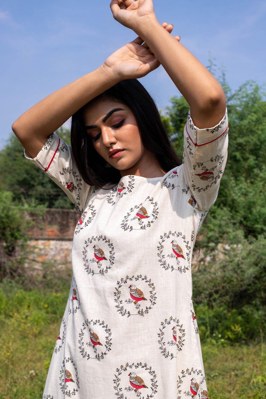 Chhidiya Bird Print Swing A Line Dress Simple Kurta Designs A Line Dress Cotton Dress Summer [ 1500 x 1000 Pixel ]