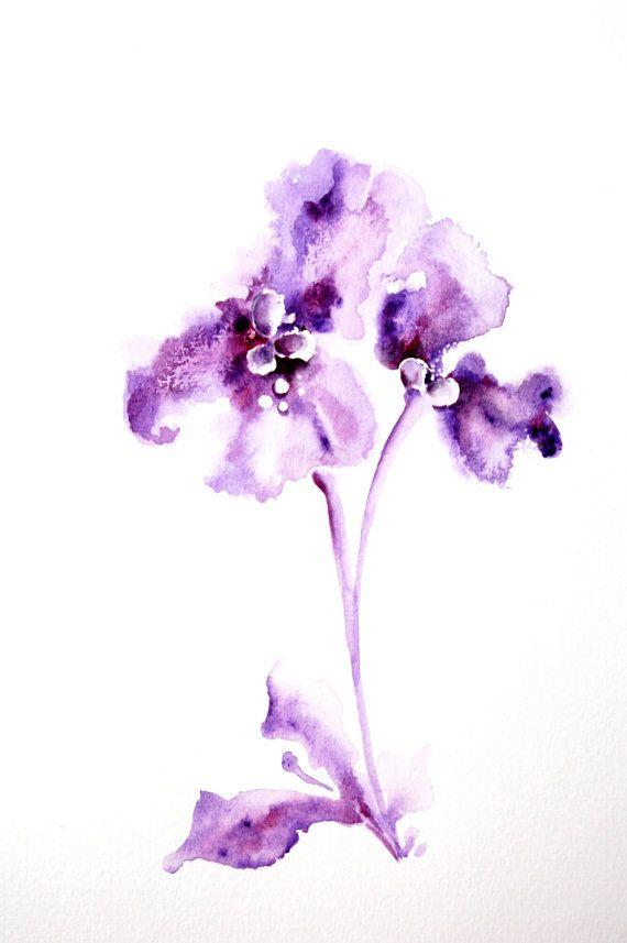 Lila Minimalist Blumen Aquarell Malerei Original | Kunst * Malerei ...