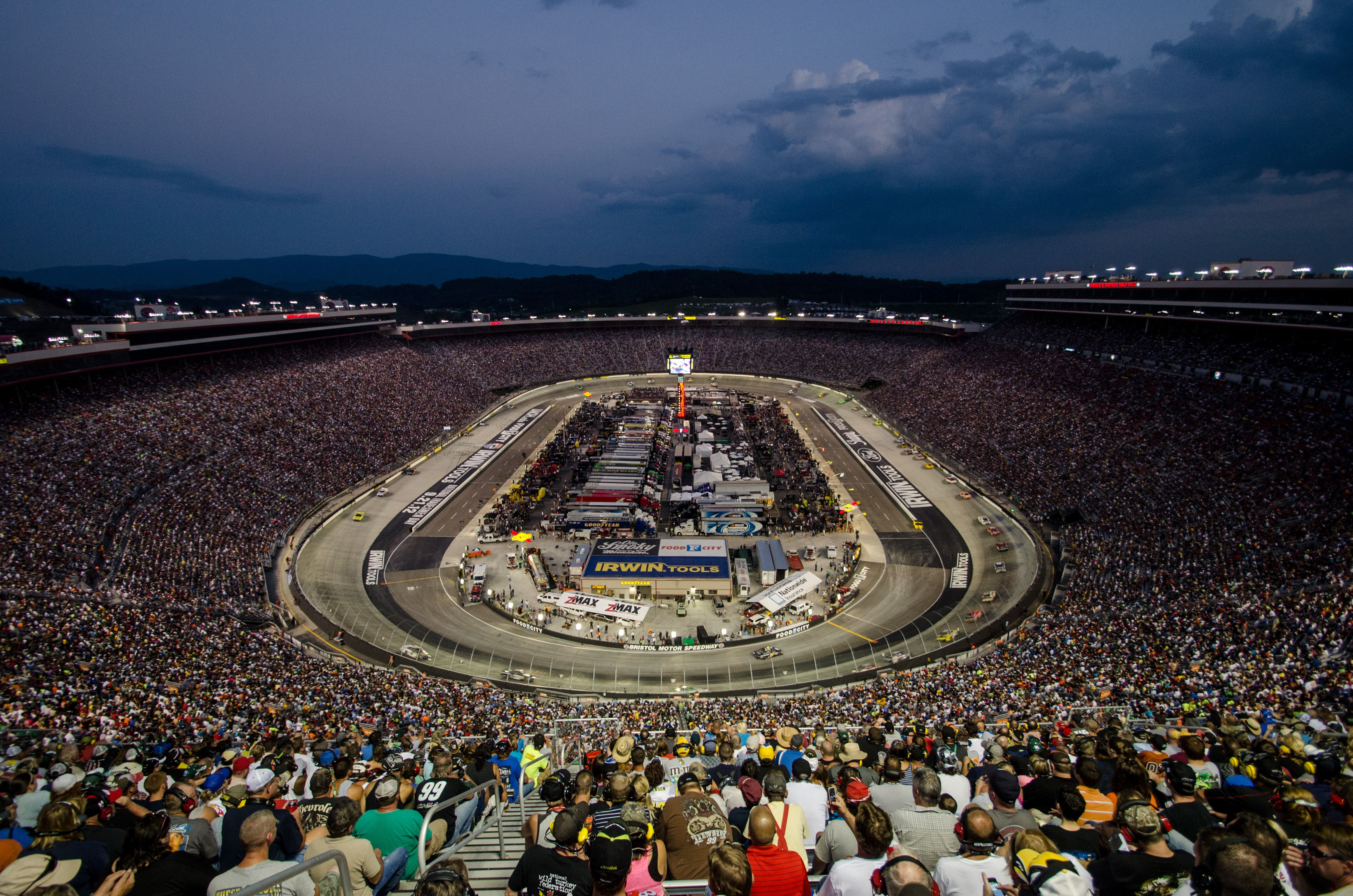 There Is No Better Place To Watch Nascar Sprint Cup Action Than Under The Lights At Bristol Nascar Itsbristolbaby Bristol Motor Speedway Nascar Race Tracks Nascar Racing