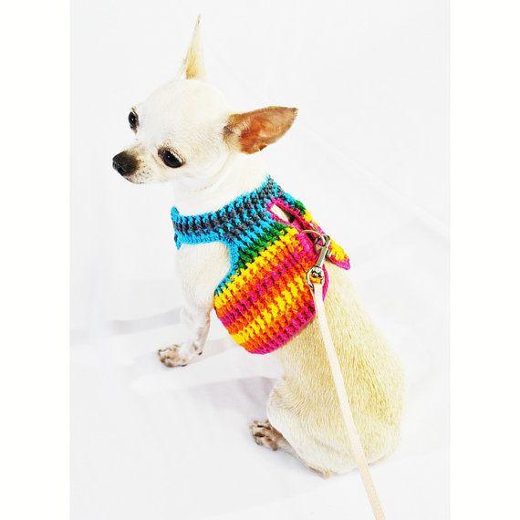 Rainbow Dog Harness Strap Velcro Pet Clothes Choke Free Puppy Collar ...