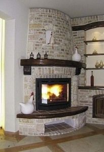 brick corner fireplaces with mantle | Brick Corner Fireplace ...