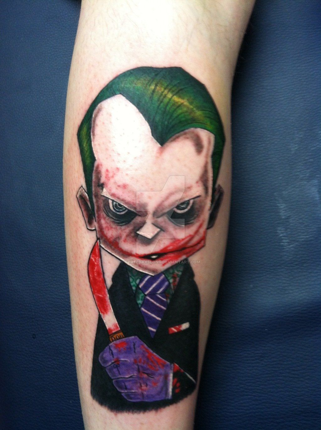 Flaming art tattoo for geek tattoo lovers this kind of batman - Awesome Joker Tattoo With Bloody Knife