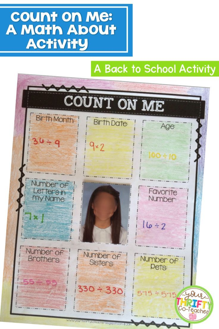 Math About Me Back to School Activity First Week of