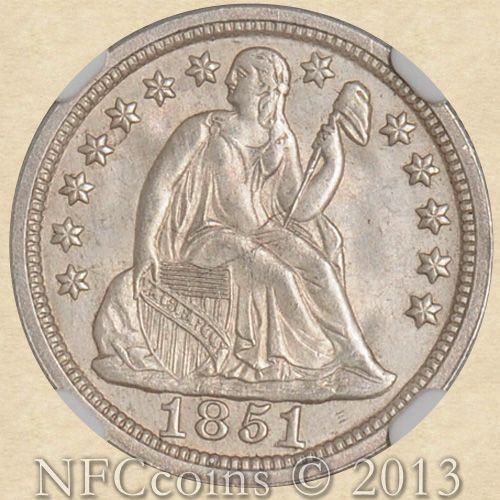 1851 Seated Liberty Dime Ms64 Ngc Obverse Gold Coins Silver Dimes Coin Collecting