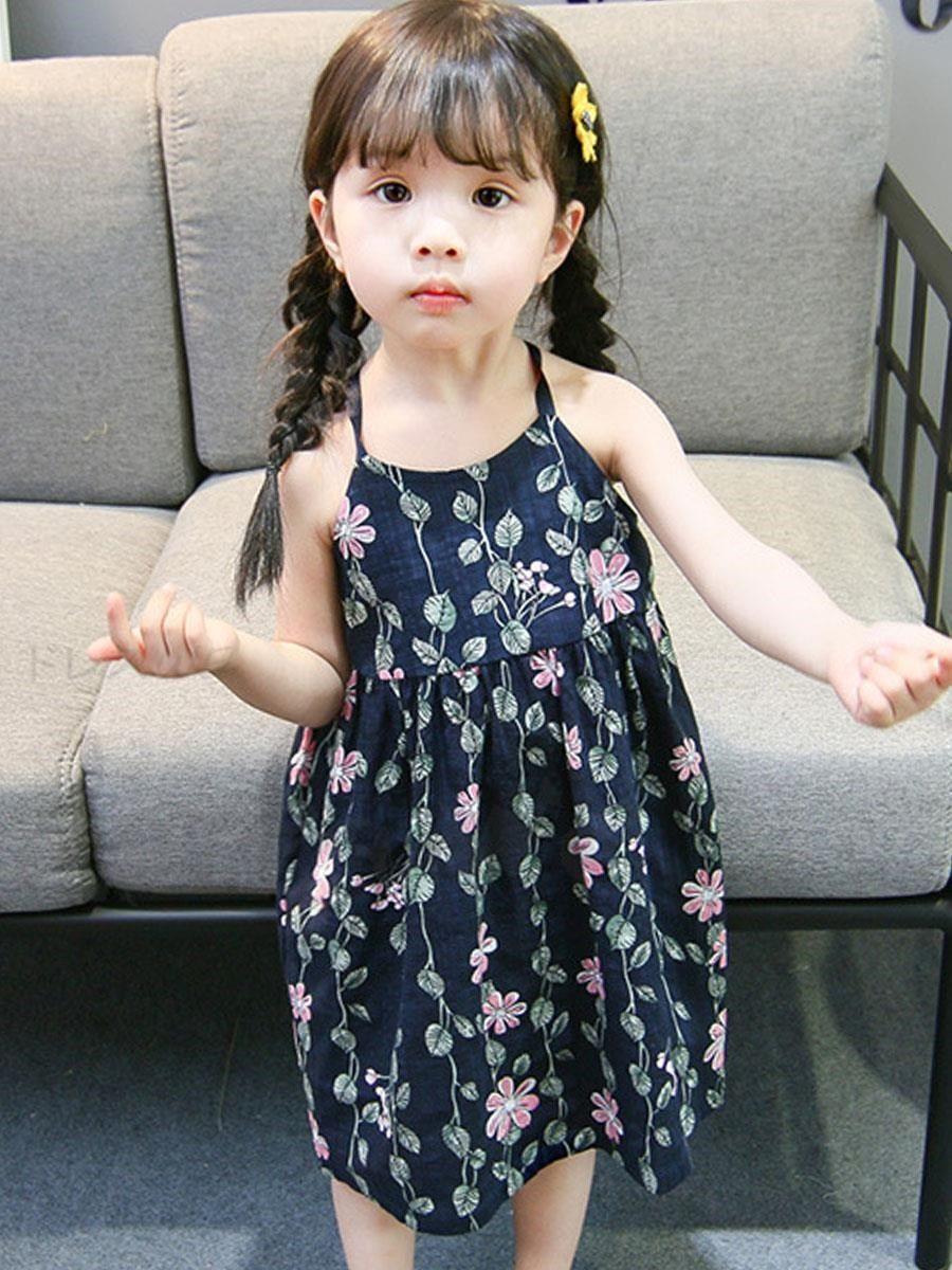 46cfc139e9c1a Doresuwe 可愛いキャミ花柄プリントゆったり子供服キッズファッション女の子ワンピース夏着