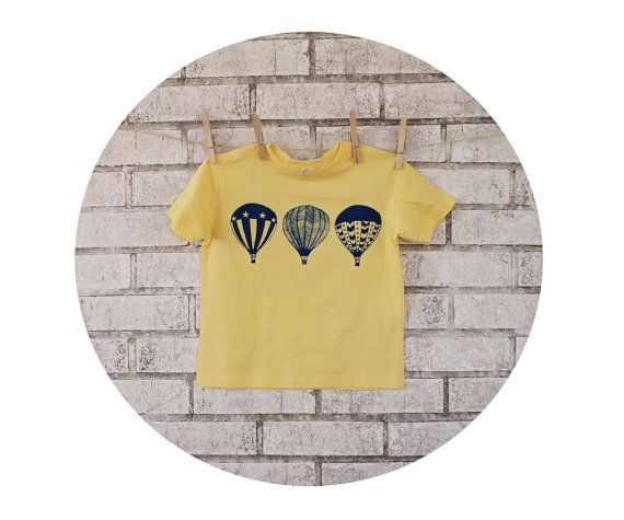 Hot Air Balloon Tshirt in Butter Yellow Toddler by CausticThreads