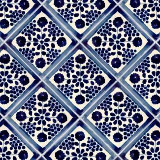Blue Damasco Talavera Mexican Tile