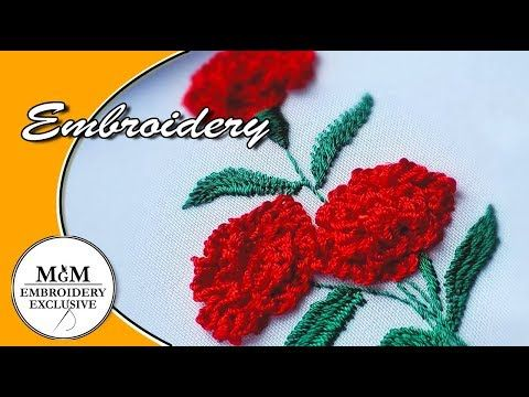 Hand Embroidery Carnation Flowers Vyshivka Gvozdiki Youtube Brazilian Embroidery Embroidery Flowers Embroidery