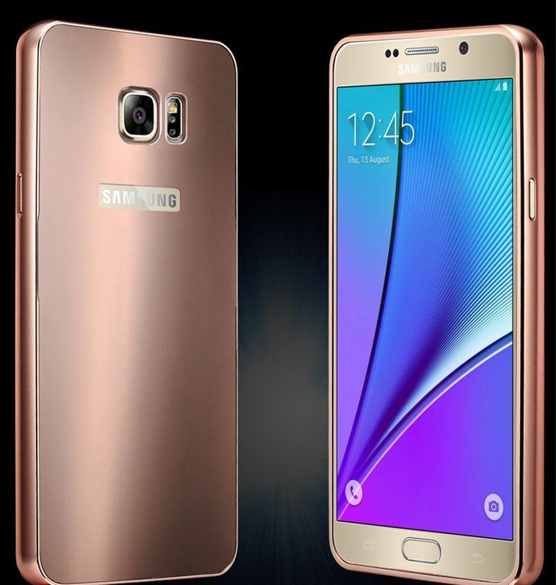 Note 5 Luxury Case Metal Aluminum +Bling Acrylic Hard Back Cover For Samsung Galaxy Note 5 Slim Phone Accessories Cover