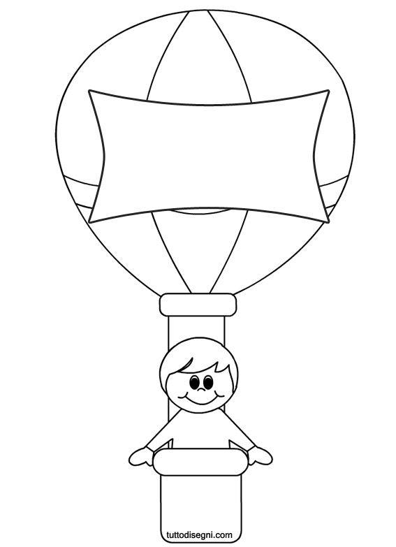 Bambino mongolfiera disegni bambini accoglienza scuola for Mongolfiera da colorare
