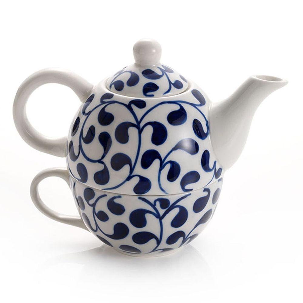 Tea Set For One Blue White Ceramic Porcelain Teapot Cup Hot Drink