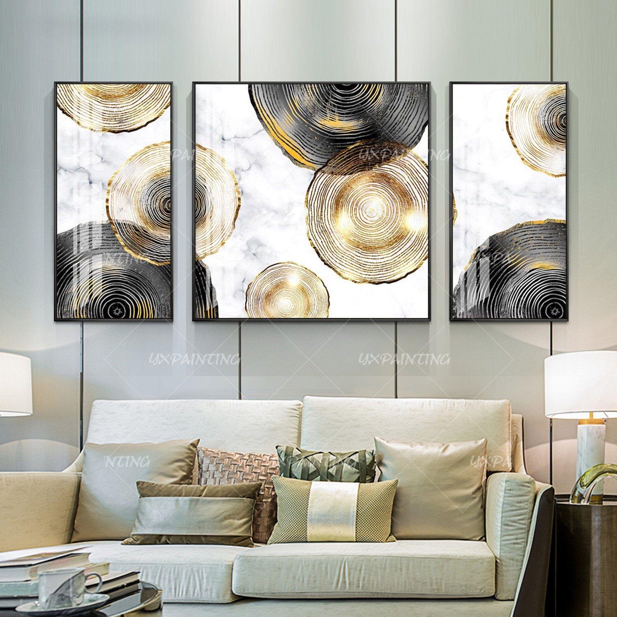 Gold Art Set Of 3 Wall Art Acrylic Paintings On Canvas Etsy Frames On Wall Home Decor Wall Art Framed Wall Art Modern art frames for living room